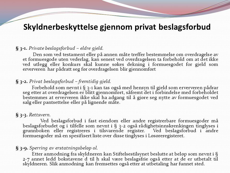 Skyldnerbeskyttelse gjennom privat beslagsforbud § 3-1.
