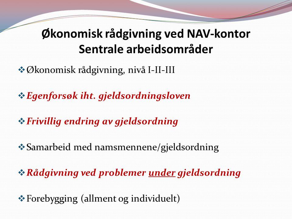 Økonomisk rådgivning ved NAV-kontor Sentrale arbeidsområder  Økonomisk rådgivning, nivå I-II-III  Egenforsøk iht.