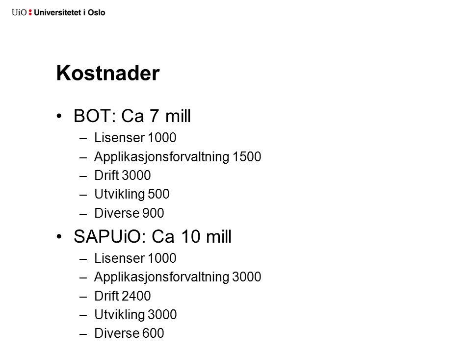 Kostnader BOT: Ca 7 mill –Lisenser 1000 –Applikasjonsforvaltning 1500 –Drift 3000 –Utvikling 500 –Diverse 900 SAPUiO: Ca 10 mill –Lisenser 1000 –Appli