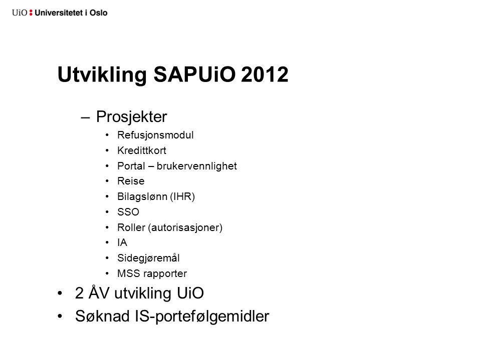 Utvikling SAPUiO 2012 –Prosjekter Refusjonsmodul Kredittkort Portal – brukervennlighet Reise Bilagslønn (IHR) SSO Roller (autorisasjoner) IA Sidegjøre