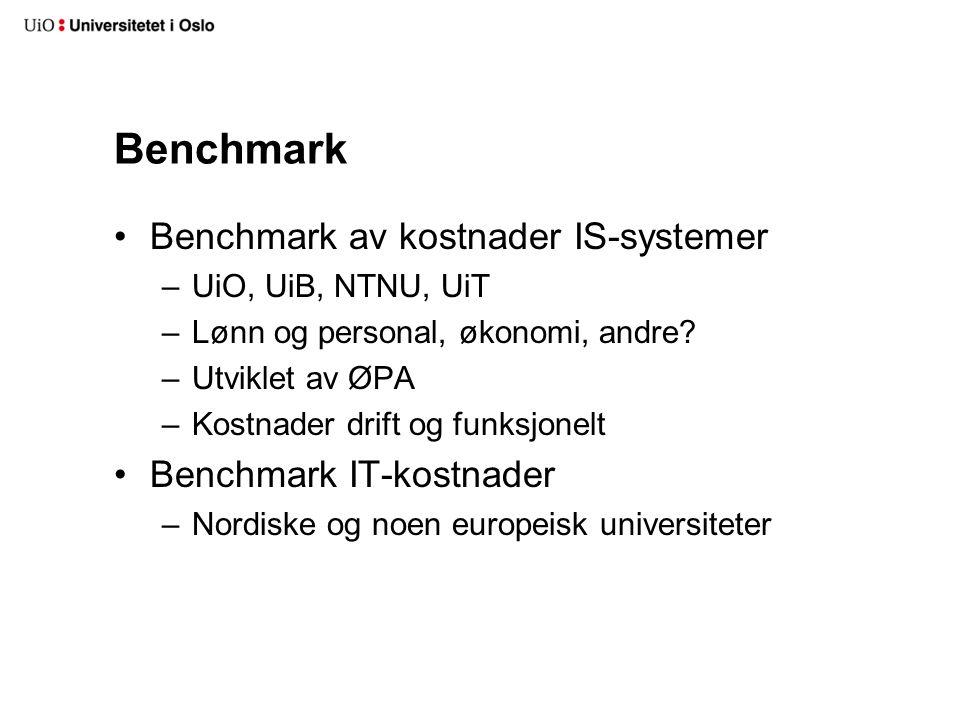 Benchmark Benchmark av kostnader IS-systemer –UiO, UiB, NTNU, UiT –Lønn og personal, økonomi, andre? –Utviklet av ØPA –Kostnader drift og funksjonelt