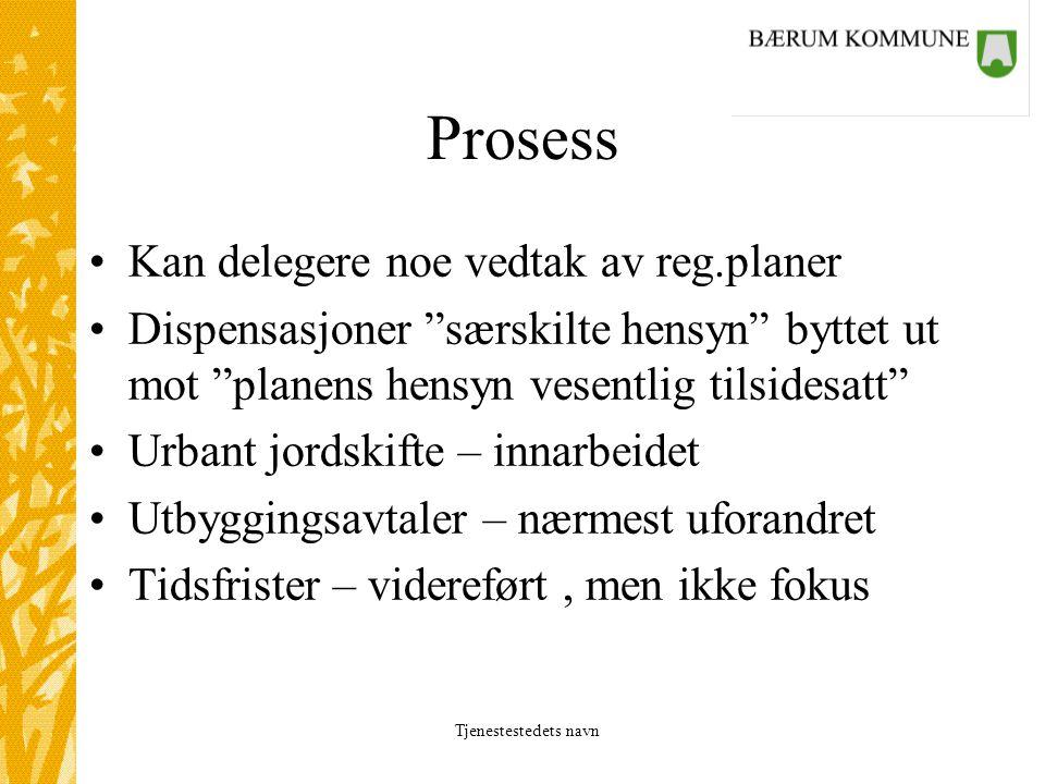"""Tjenestestedets navn Prosess Kan delegere noe vedtak av reg.planer Dispensasjoner """"særskilte hensyn"""" byttet ut mot """"planens hensyn vesentlig tilsidesa"""