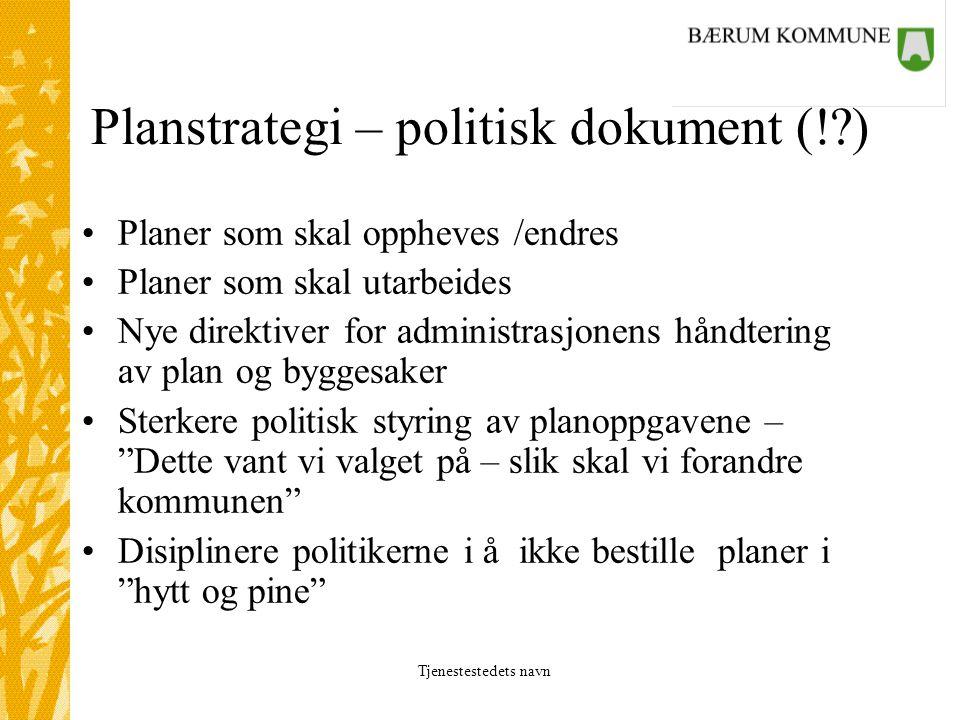 Tjenestestedets navn Planstrategi – politisk dokument (!?) Planer som skal oppheves /endres Planer som skal utarbeides Nye direktiver for administrasj