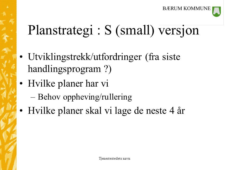 Tjenestestedets navn Planstrategi : S (small) versjon Utviklingstrekk/utfordringer (fra siste handlingsprogram ) Hvilke planer har vi –Behov oppheving/rullering Hvilke planer skal vi lage de neste 4 år