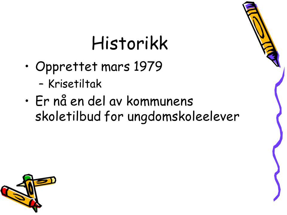 Historikk Opprettet mars 1979 –Krisetiltak Er nå en del av kommunens skoletilbud for ungdomskoleelever