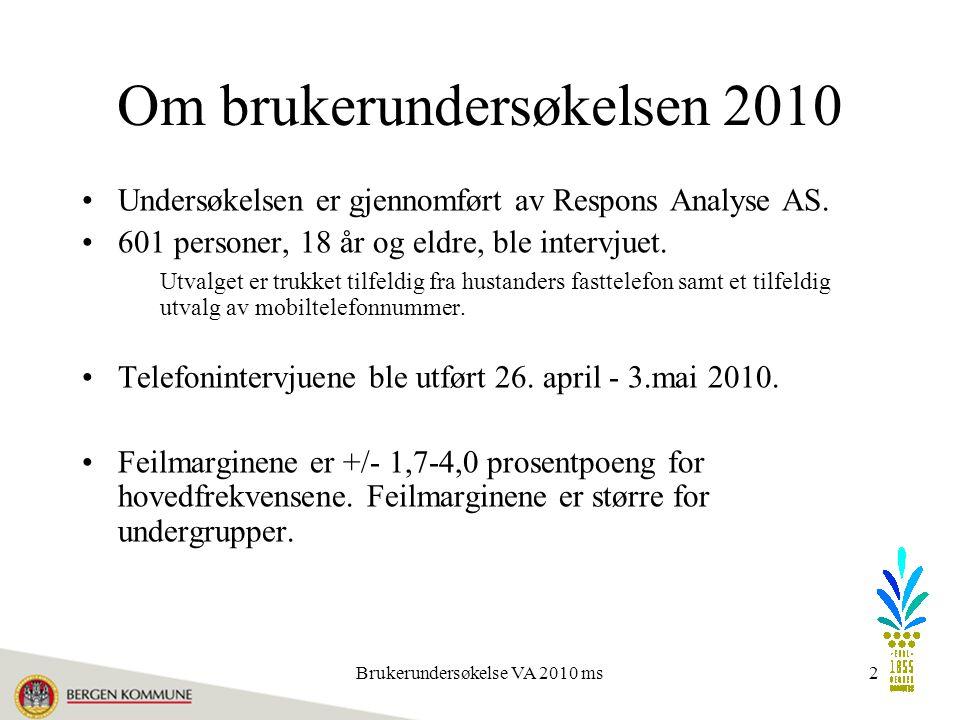 Brukerundersøkelse VA 2010 ms33 Tiltro til godt drikkevann - bydeler?