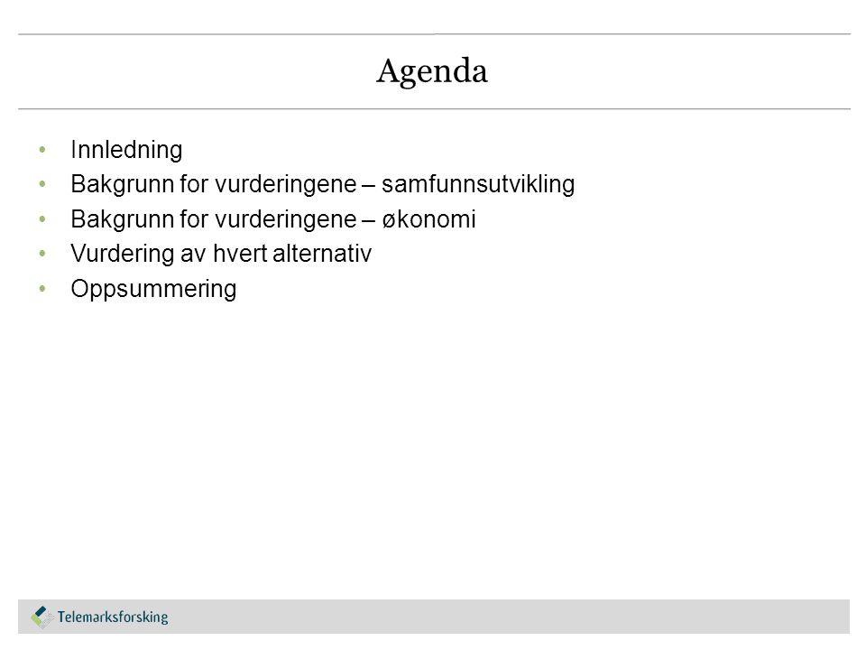 Agenda Innledning Bakgrunn for vurderingene – samfunnsutvikling Bakgrunn for vurderingene – økonomi Vurdering av hvert alternativ Oppsummering