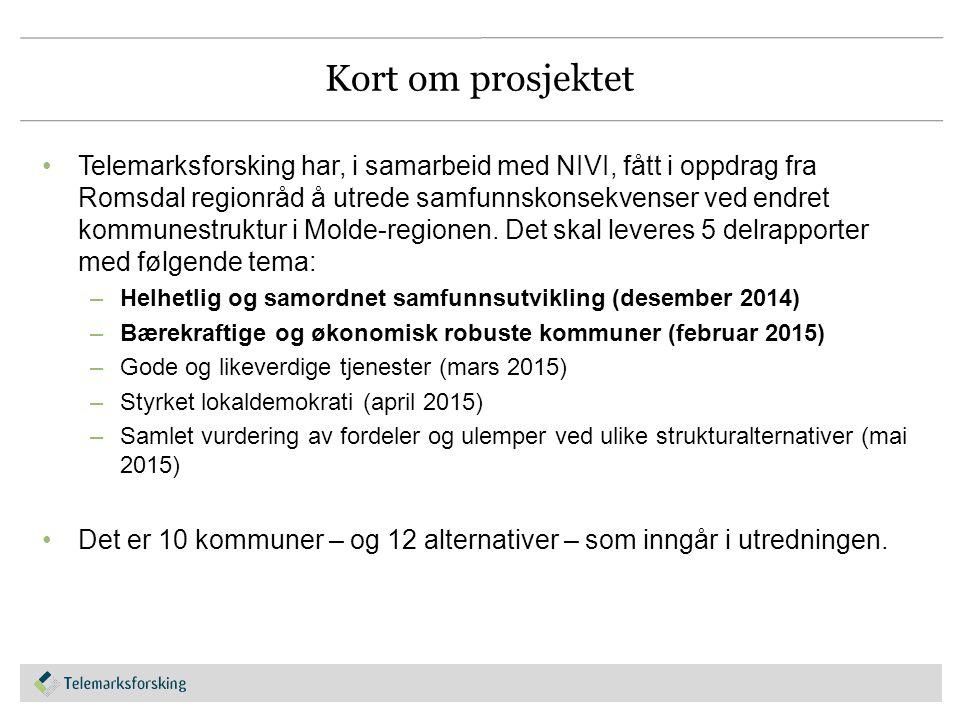Kort om prosjektet Telemarksforsking har, i samarbeid med NIVI, fått i oppdrag fra Romsdal regionråd å utrede samfunnskonsekvenser ved endret kommunestruktur i Molde-regionen.