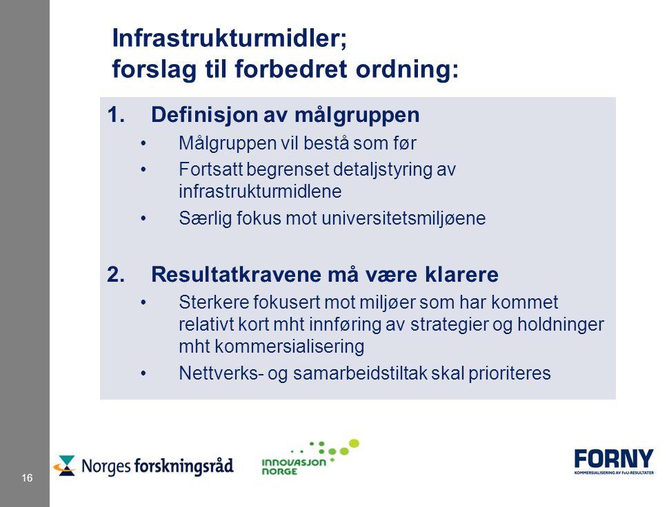 16 Infrastrukturmidler; forslag til forbedret ordning: 1.Definisjon av målgruppen Målgruppen vil bestå som før Fortsatt begrenset detaljstyring av infrastrukturmidlene Særlig fokus mot universitetsmiljøene 2.Resultatkravene må være klarere Sterkere fokusert mot miljøer som har kommet relativt kort mht innføring av strategier og holdninger mht kommersialisering Nettverks- og samarbeidstiltak skal prioriteres