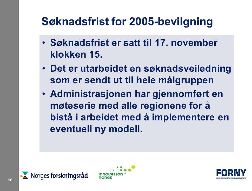 18 Søknadsfrist for 2005-bevilgning Søknadsfrist er satt til 17.