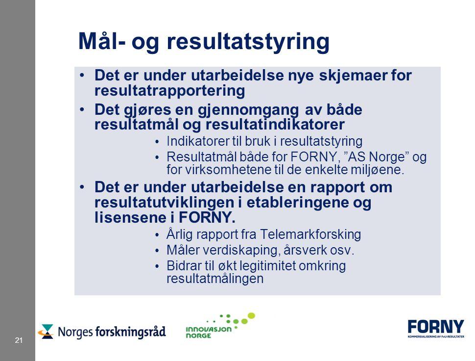 21 Mål- og resultatstyring Det er under utarbeidelse nye skjemaer for resultatrapportering Det gjøres en gjennomgang av både resultatmål og resultatindikatorer Indikatorer til bruk i resultatstyring Resultatmål både for FORNY, AS Norge og for virksomhetene til de enkelte miljøene.