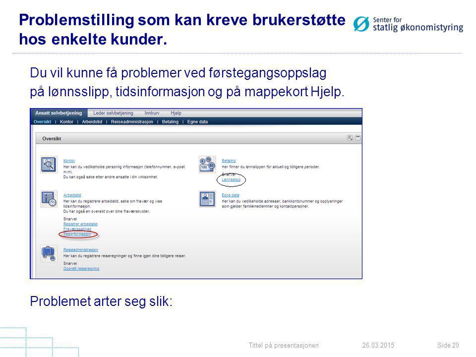 Tittel på presentasjonenSide 2926.03.2015 Problemstilling som kan kreve brukerstøtte hos enkelte kunder.
