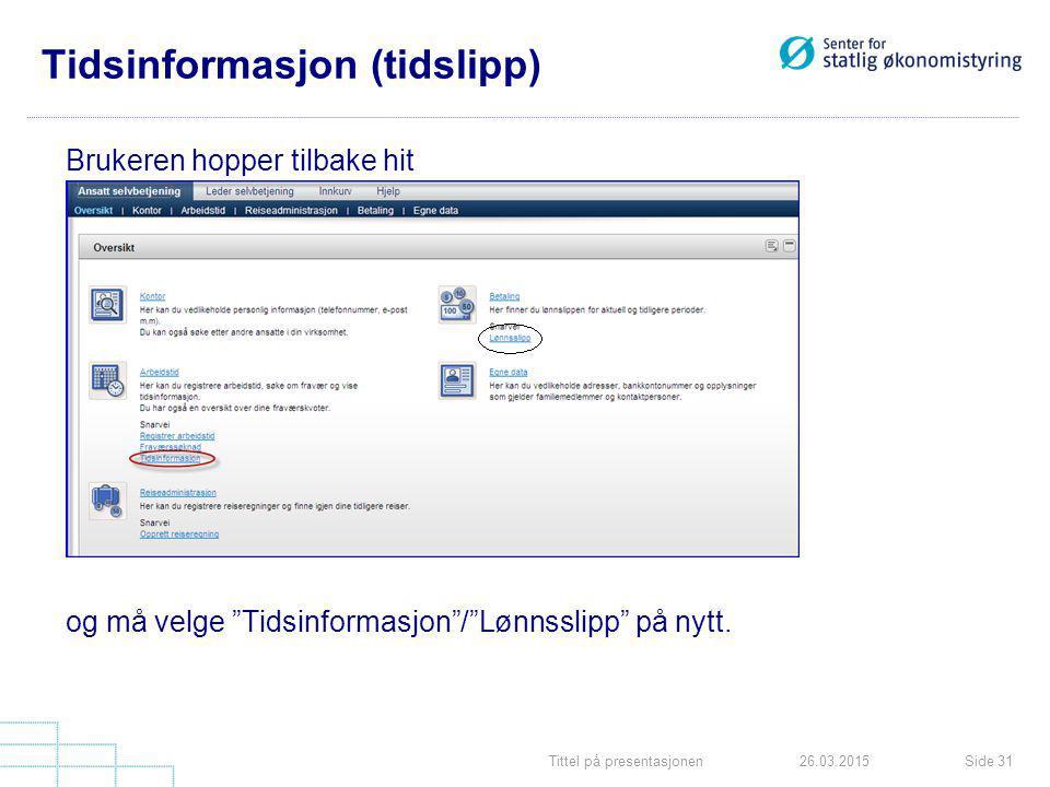 Tittel på presentasjonenSide 3126.03.2015 Tidsinformasjon (tidslipp) Brukeren hopper tilbake hit og må velge Tidsinformasjon / Lønnsslipp på nytt.