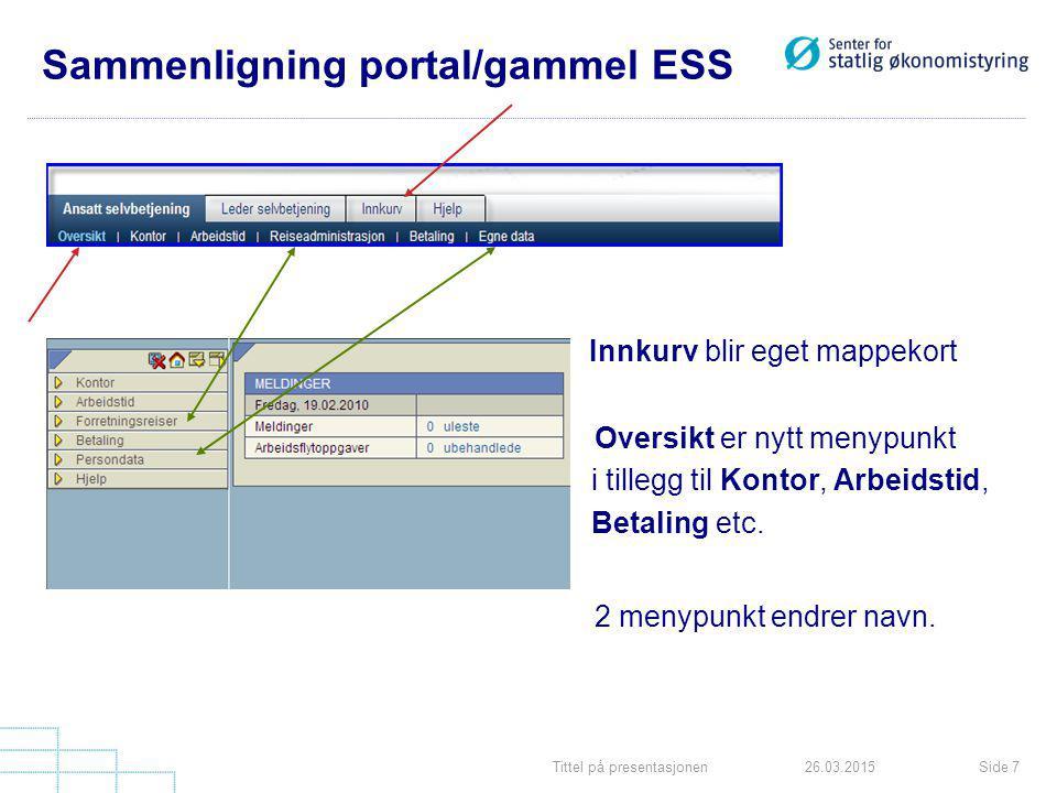 Tittel på presentasjonenSide 726.03.2015 Sammenligning portal/gammel ESS Innkurv blir eget mappekort Oversikt er nytt menypunkt i tillegg til Kontor, Arbeidstid, Betaling etc.