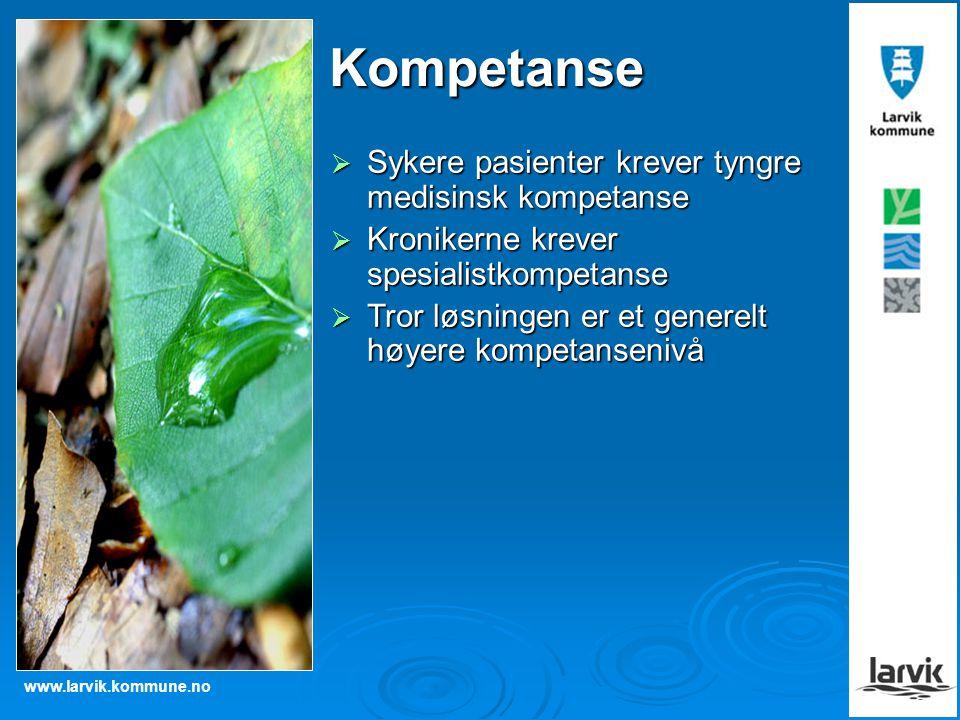 www.larvik.kommune.no Kompetanse  Sykere pasienter krever tyngre medisinsk kompetanse  Kronikerne krever spesialistkompetanse  Tror løsningen er et