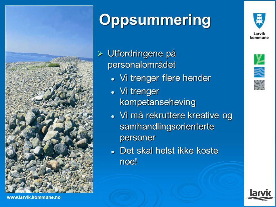 www.larvik.kommune.no Oppsummering  Utfordringene på personalområdet Vi trenger flere hender Vi trenger flere hender Vi trenger kompetanseheving Vi t