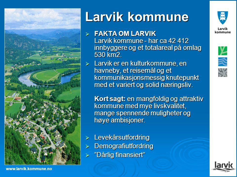 www.larvik.kommune.no Larvik kommune  FAKTA OM LARVIK Larvik kommune - har ca 42 412 innbyggere og et totalareal på omlag 530 km2.  Larvik er en kul