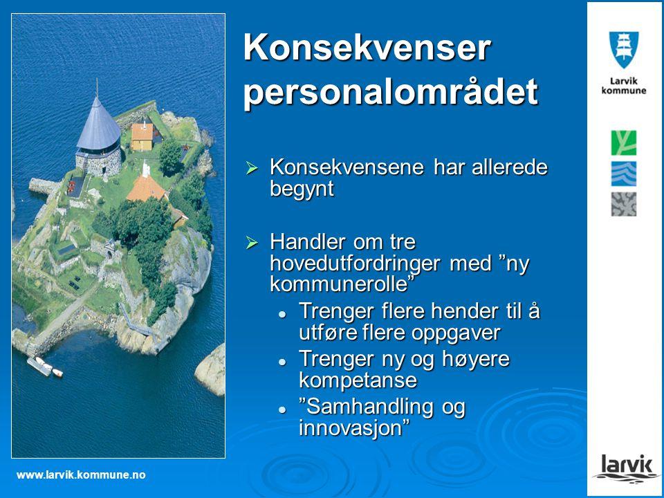 """www.larvik.kommune.no  Konsekvensene har allerede begynt  Handler om tre hovedutfordringer med """"ny kommunerolle"""" Trenger flere hender til å utføre f"""