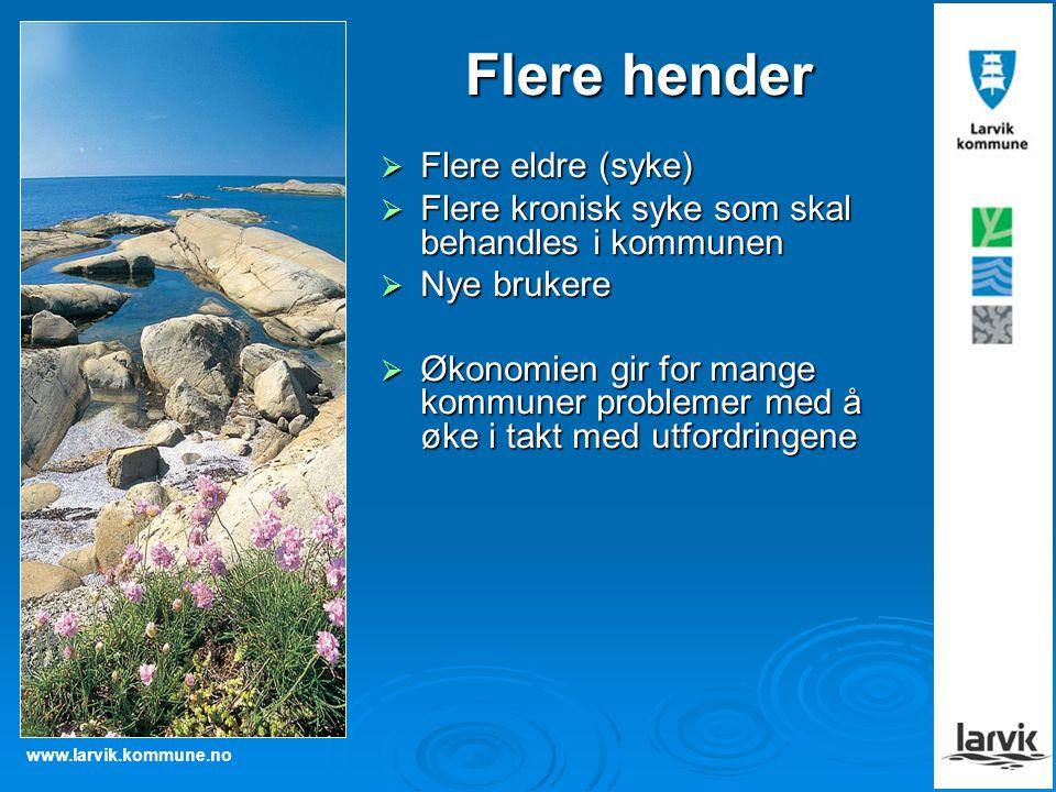 www.larvik.kommune.no Flere hender  Flere eldre (syke)  Flere kronisk syke som skal behandles i kommunen  Nye brukere  Økonomien gir for mange kom