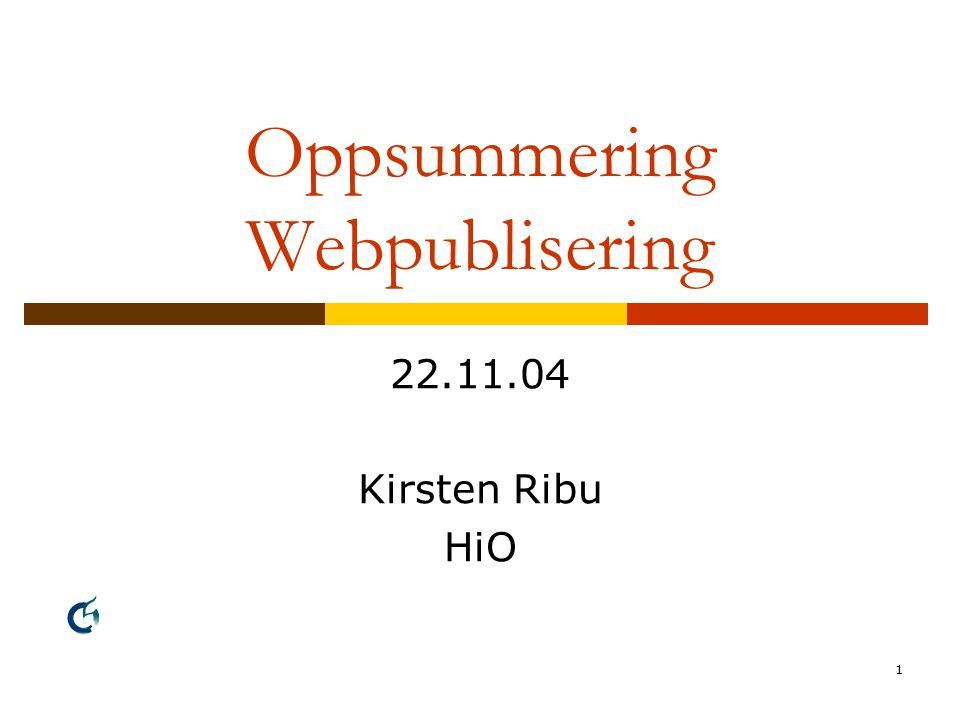 1 Oppsummering Webpublisering 22.11.04 Kirsten Ribu HiO