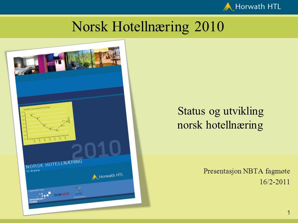 1 Norsk Hotellnæring 2010 Status og utvikling norsk hotellnæring Presentasjon NBTA fagmøte 16/2-2011