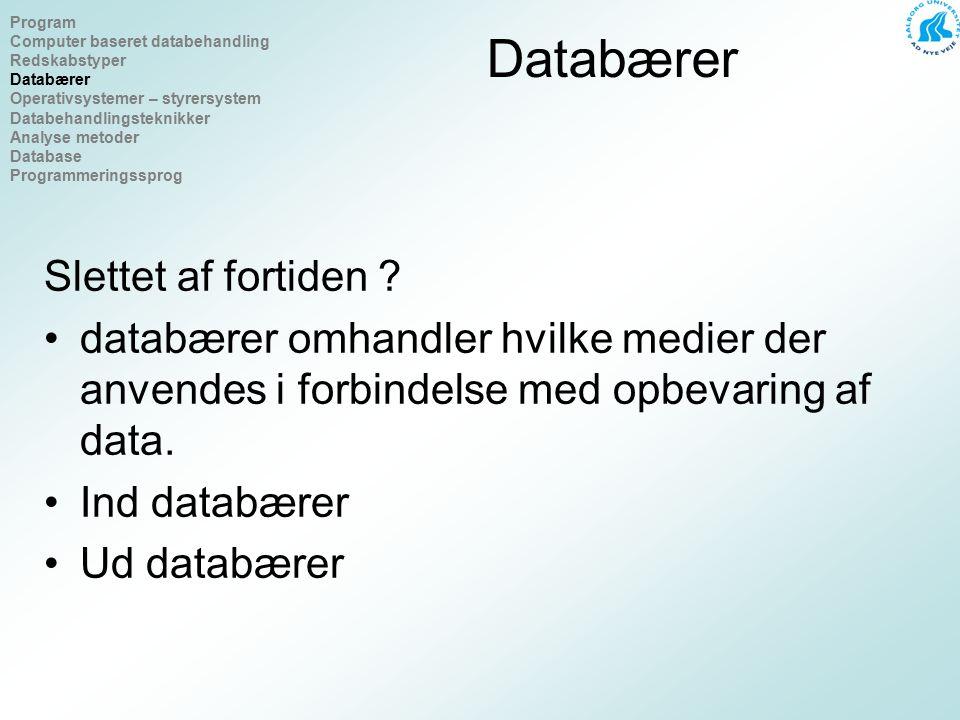 Operativsystemer – styrersystem Formål med styrersystemer Windows, Unix, Linux Program Computer baseret databehandling Redskabstyper Databærer Operativsystemer – styrersystem Databehandlingsteknikker Analyse metoder Database Programmeringssprog