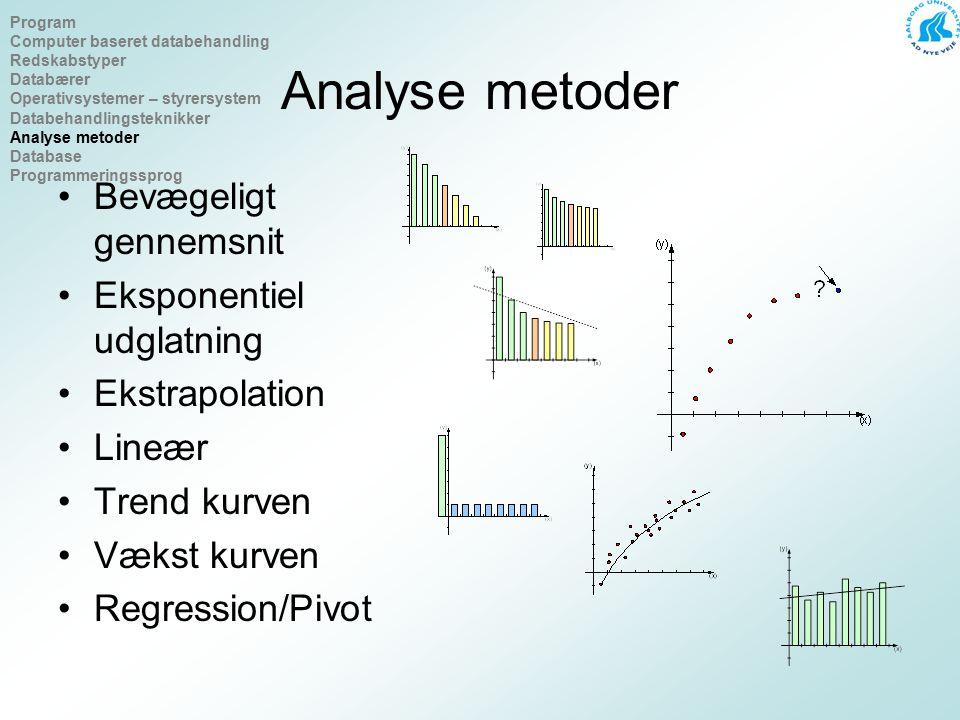 Analyse metoder Bevægeligt gennemsnit Eksponentiel udglatning Ekstrapolation Lineær Trend kurven Vækst kurven Regression/Pivot Program Computer baseret databehandling Redskabstyper Databærer Operativsystemer – styrersystem Databehandlingsteknikker Analyse metoder Database Programmeringssprog