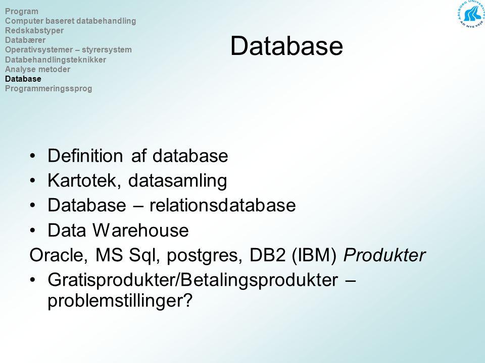Database Definition af database Kartotek, datasamling Database – relationsdatabase Data Warehouse Oracle, MS Sql, postgres, DB2 (IBM) Produkter Gratisprodukter/Betalingsprodukter – problemstillinger.