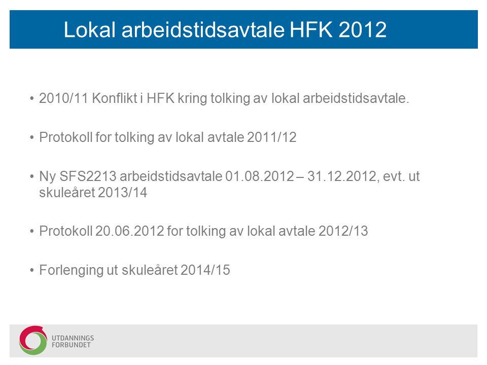 Lokal arbeidstidsavtale HFK 2012 2010/11 Konflikt i HFK kring tolking av lokal arbeidstidsavtale. Protokoll for tolking av lokal avtale 2011/12 Ny SFS