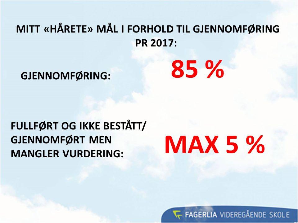 MITT «HÅRETE» MÅL I FORHOLD TIL GJENNOMFØRING PR 2017: FULLFØRT OG IKKE BESTÅTT/ GJENNOMFØRT MEN MANGLER VURDERING: MAX 5 % GJENNOMFØRING: 85 %