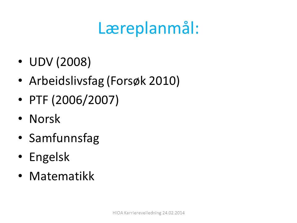 Læreplanmål: UDV (2008) Arbeidslivsfag (Forsøk 2010) PTF (2006/2007) Norsk Samfunnsfag Engelsk Matematikk HiOA Karriereveiledning 24.02.2014