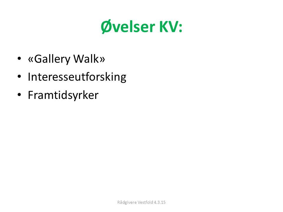 Øvelser KV: «Gallery Walk» Interesseutforsking Framtidsyrker Rådgivere Vestfold 4.3.15