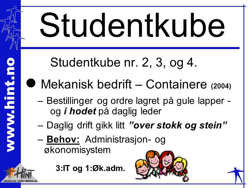www.hint.no Studentkube Studentkube nr. 2, 3, og 4. l Mekanisk bedrift – Containere (2004) – Bestillinger og ordre lagret på gule lapper - og i hodet