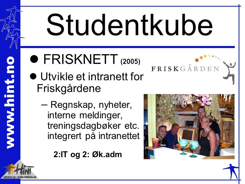 www.hint.no Studentkube l FRISKNETT (2005) l Utvikle et intranett for Friskgårdene – Regnskap, nyheter, interne meldinger, treningsdagbøker etc. integ