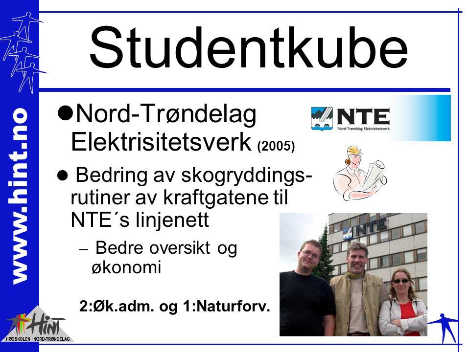 www.hint.no Studentkube lNord-Trøndelag Elektrisitetsverk (2005) l Bedring av skogryddings- rutiner av kraftgatene til NTE´s linjenett – Bedre oversikt og økonomi 2:Øk.adm.