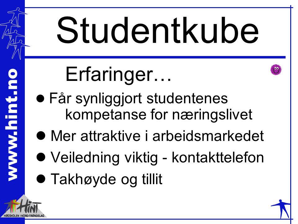 www.hint.no Studentkube Erfaringer… l Får synliggjort studentenes kompetanse for næringslivet l Mer attraktive i arbeidsmarkedet l Veiledning viktig -