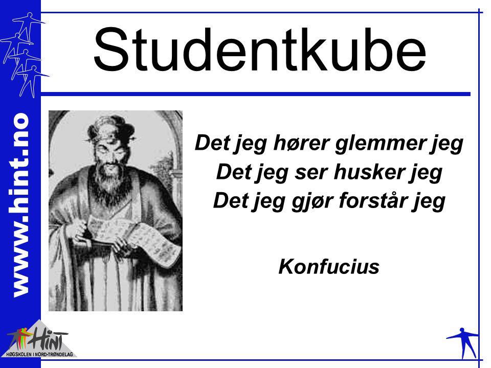 www.hint.no Studentkube Det jeg hører glemmer jeg Det jeg ser husker jeg Det jeg gjør forstår jeg Konfucius