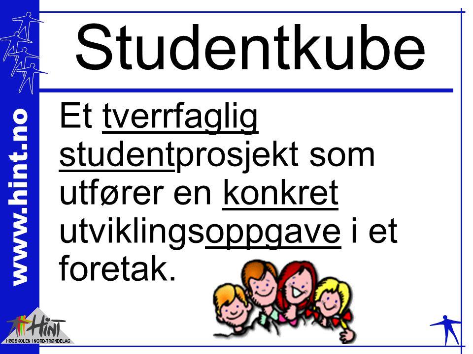 www.hint.no Studentkube Et tverrfaglig studentprosjekt som utfører en konkret utviklingsoppgave i et foretak.
