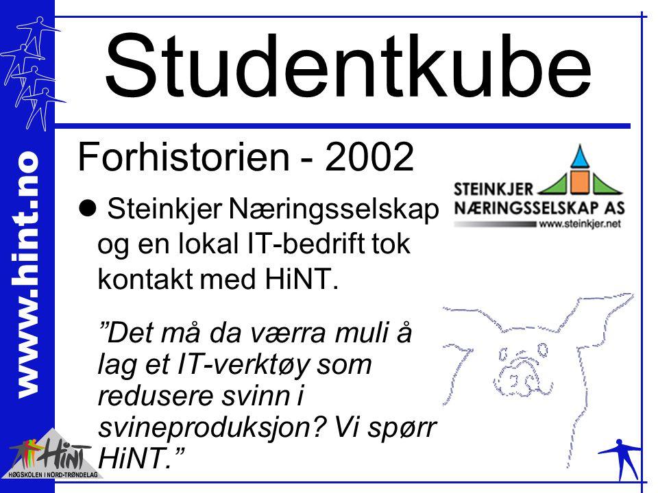 """www.hint.no Studentkube Forhistorien - 2002 l Steinkjer Næringsselskap og en lokal IT-bedrift tok kontakt med HiNT. """"Det må da værra muli å lag et IT-"""