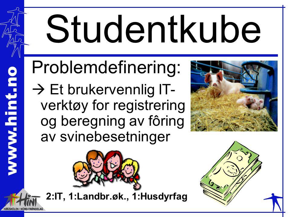 www.hint.no Studentkube Problemdefinering:  Et brukervennlig IT- verktøy for registrering og beregning av fôring av svinebesetninger 2:IT, 1:Landbr.øk., 1:Husdyrfag
