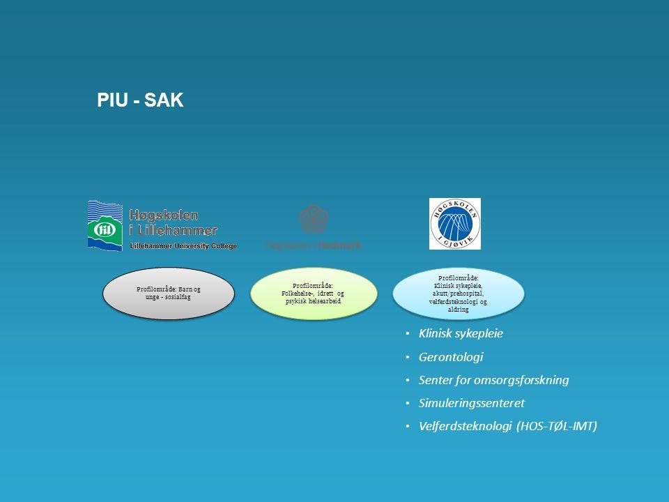 PIU - SAK Klinisk sykepleie Gerontologi Senter for omsorgsforskning Simuleringssenteret Velferdsteknologi (HOS-TØL-IMT) Profilområde: Barn og unge - s