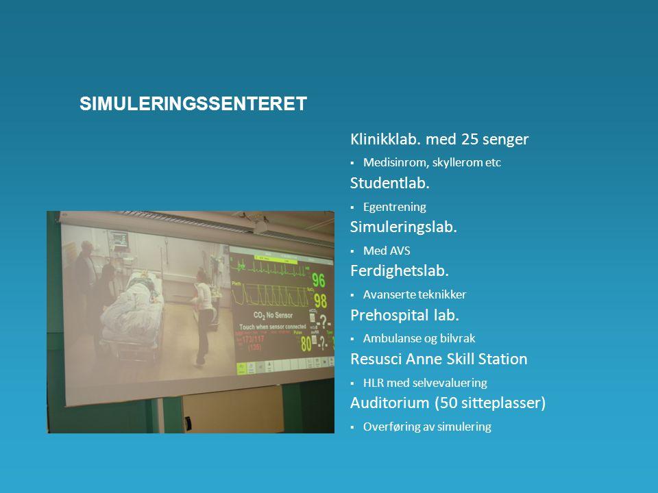 SIMULERINGSSENTERET Klinikklab. med 25 senger  Medisinrom, skyllerom etc Studentlab.  Egentrening Simuleringslab.  Med AVS Ferdighetslab.  Avanser