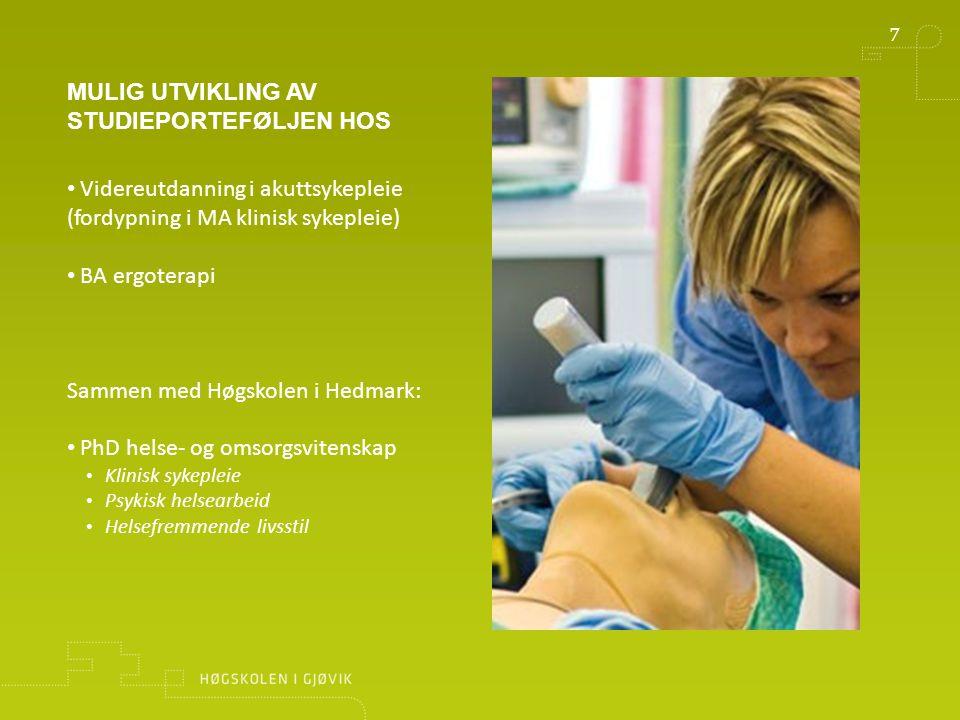 8 MULIGHETSBILDE 5-10 ÅR (PIU) Norges fremste forsknings- og utdanningsmiljø innen klinisk sykepleie ligger i Innlandet Norges kraftsenter for innovasjon innen omsorgsfeltet Senter for fremragende utdanning med basis i Simuleringssenteret