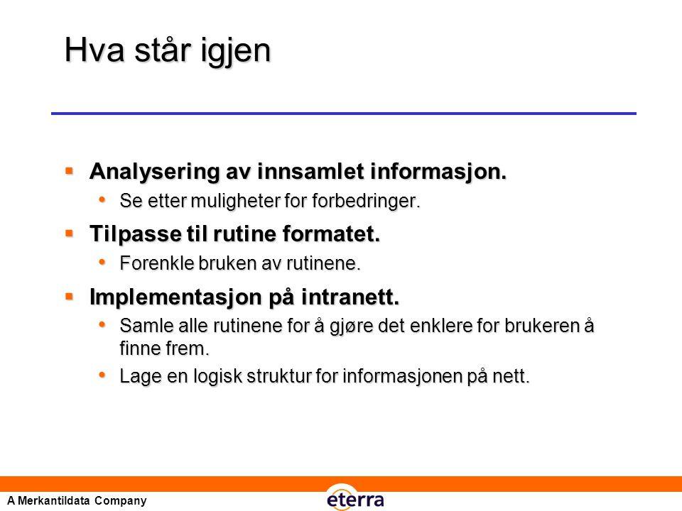 A Merkantildata Company Hva står igjen  Analysering av innsamlet informasjon.