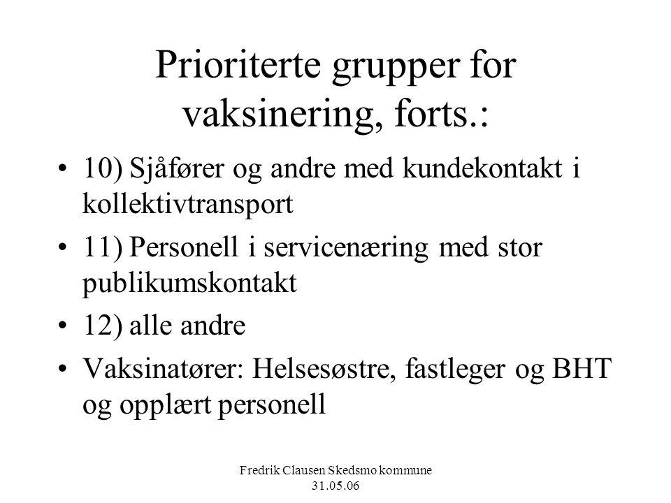 Fredrik Clausen Skedsmo kommune 31.05.06 Prioriterte grupper for vaksinering, forts.: 10) Sjåfører og andre med kundekontakt i kollektivtransport 11)