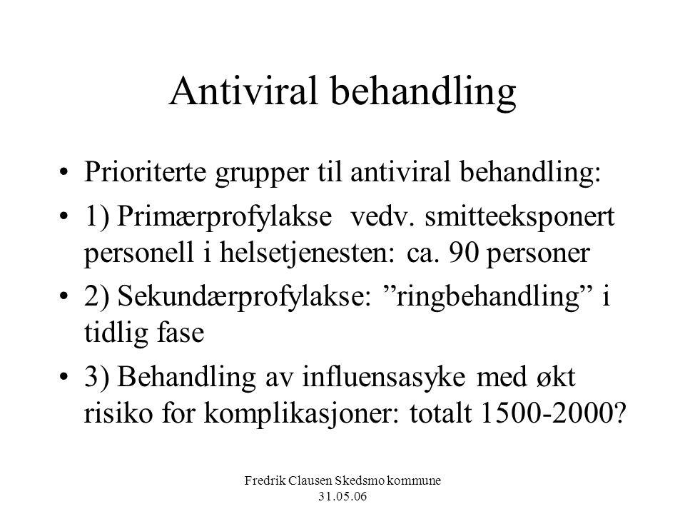 Fredrik Clausen Skedsmo kommune 31.05.06 Antiviral behandling Prioriterte grupper til antiviral behandling: 1) Primærprofylakse vedv. smitteeksponert