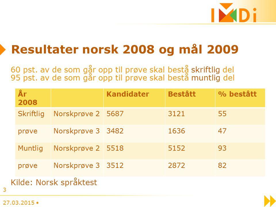 3 Resultater norsk 2008 og mål 2009 60 pst.