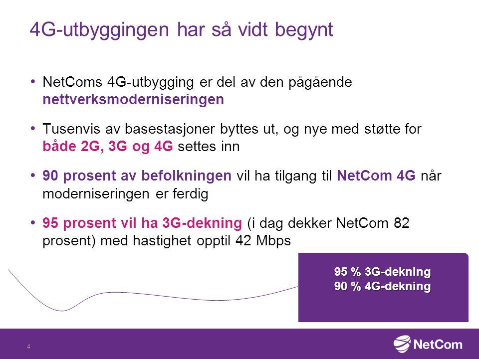 4G-utbyggingen har så vidt begynt NetComs 4G-utbygging er del av den pågående nettverksmoderniseringen Tusenvis av basestasjoner byttes ut, og nye med