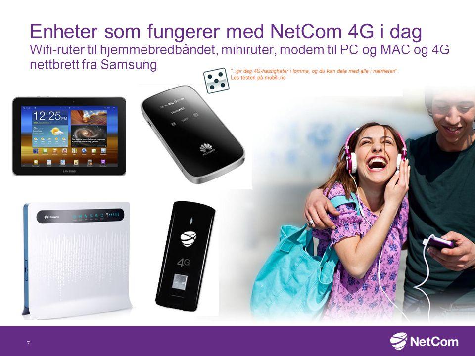 8 4G-telefoner yyyy-mm-dd or Month dd, yyyyInternal /Relation/Identifier 0.1 Draft Flere telefoner med støtte for 4G er på vei inn i det norske markedet –Samsung, Nokia med flere har annonsert nye toppmodeller med 4G-fart Svitsjing mellom surfing på 4G og ringing/sms i 3G/GSM-nettene må på plass før du kan telefon-surfe i 4G-nettet –Svitsjefunksjonaliteten vil sannsynligvis være på plass allerede i løpet av nyårets tre første måneder etter en periode med grundig testing og implementering 4G-telefonen må også støtte de frekvensene som vi bruker til 4G i Norge –I dag har NetCom 4G-dekning på 2,6 Ghz- båndet og 1800 Mhz båndet – på sikt vil vi også bruke 800 Mhz båndet til 4G iPhone 5 har 4G-støtte, men støtter bare enkelte frekvensbånd og fungerer først i NetComs 4G-nett når svitsjing mellom 3G og 4G er på plass
