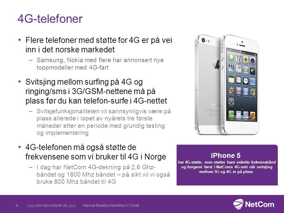 8 4G-telefoner yyyy-mm-dd or Month dd, yyyyInternal /Relation/Identifier 0.1 Draft Flere telefoner med støtte for 4G er på vei inn i det norske marked